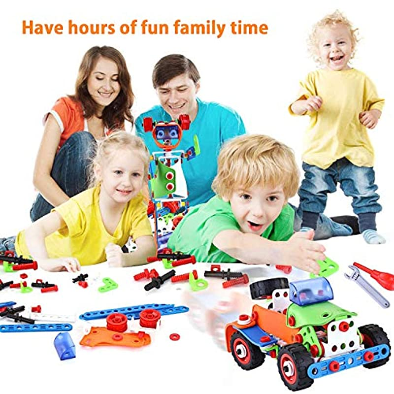 LUKAT STEM Toys, 165 Piece Kids Building Toys Set ...